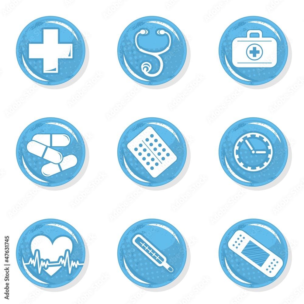 Obraz medyczny zestaw ikon zdrowie choroba pomoc fototapeta, plakat
