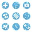 medyczny zestaw ikon zdrowie choroba pomoc