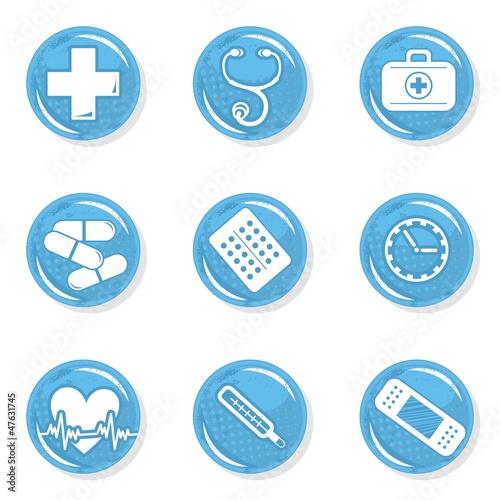 Fototapeta medyczny zestaw ikon zdrowie choroba pomoc obraz