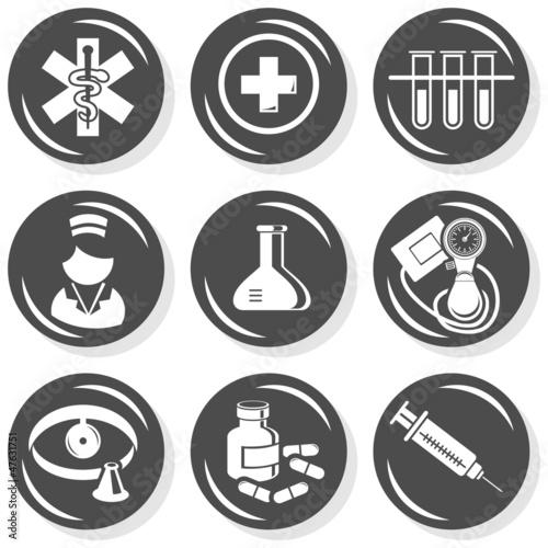 Fototapeta zdrowie medycyna badania zestaw ikon szary monochrom obraz