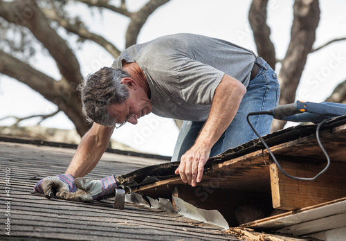 Fotografie, Obraz  Man Examining and Repairing Rotten Leaking House Roof