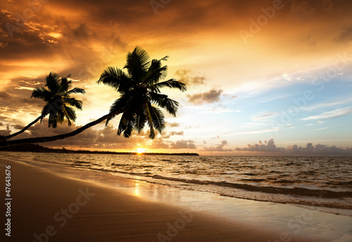 sunset on the beach of caribbean sea - 47643676