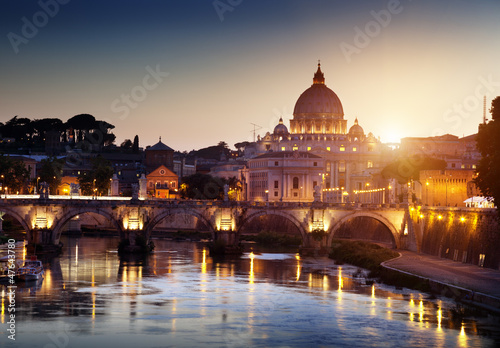 view on Tiber and St Peter Basilica in Vatican Wallpaper Mural