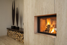 Travertine House: Fireplace