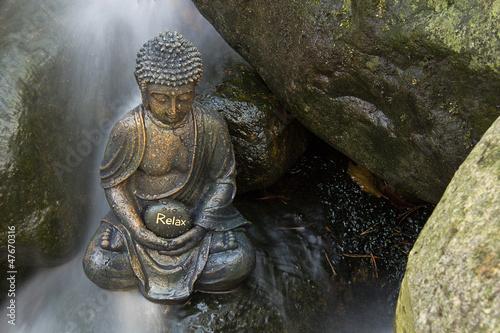 Doppelrollo mit Motiv - Meditation am Wasserfall (von Pixelrohkost)