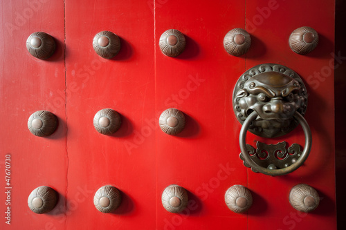 Red temple door in chinatown, Singapore Poster