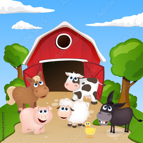 Photo sur Toile Ferme Vector Farm Animals