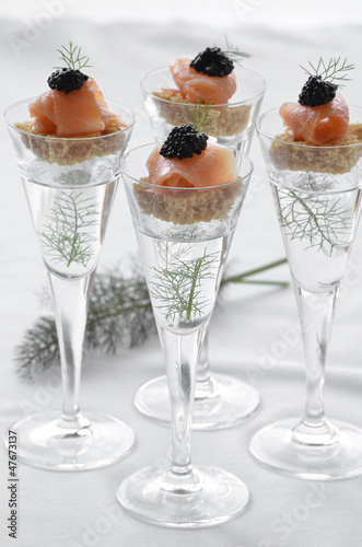 Smoked salmon and caviar canapes Wallpaper Mural
