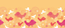 Vector Farm Birds Horizontal Seamless Pattern Background