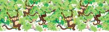 Happy Monkeys Vector Horizonta...