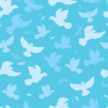 Doves In The Sky Vector Seamless Pattern Background With Hand