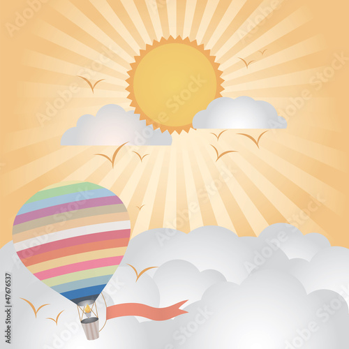 hot air balloon flying on good weather background : evening time