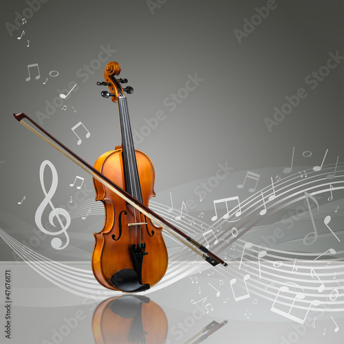 Violin and fiddle stick with musical notes - 47676871