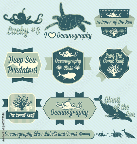 Fotografie, Obraz  Vector Set: Vintage Oceanography Class Labels and Icons
