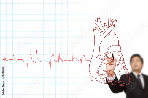 Heartbeat Line Art : Businessman drawing the chart heartbeat line medical concept