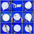 canvas print picture - Collage of forks,knifes, plates, spoons on blue.