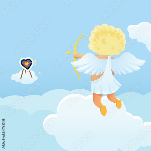 Foto op Aluminium Hemel Funny cupid's shooting range Valentine's Day illustration