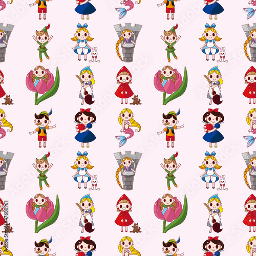 cartoon story people seamless pattern Fotomurales