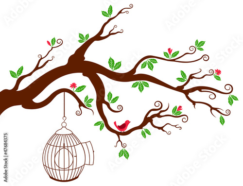 Recess Fitting Birds in cages Tree Branch with bird cage and beautiful birds