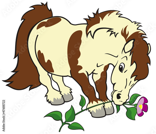 Deurstickers Pony cartoon pony with flower