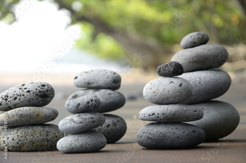 Doppelrollo mit Motiv - Basalt Steine am Strand (von paulmz)