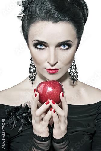 Fotografie, Obraz  девушка с яблоком