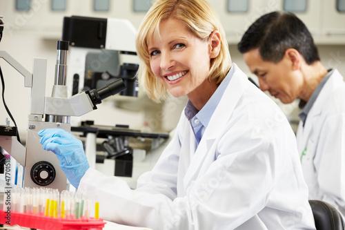 Fotografía  Male And Female Scientists Using Microscopes In Laboratory