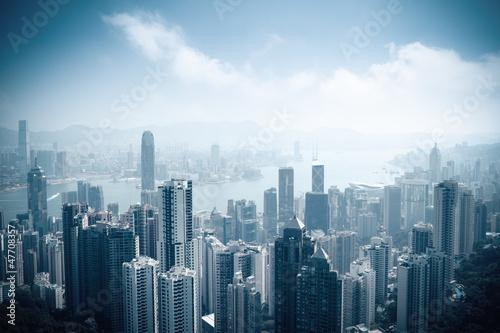 Photo  aerial view of beautiful hongkong