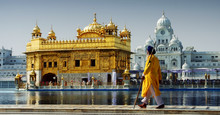 Sikh In Front Of Golden Temple...