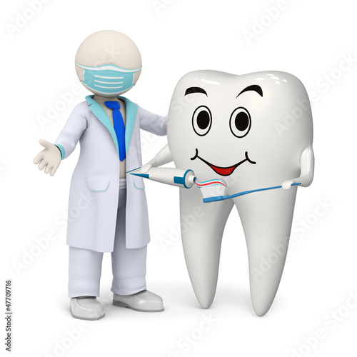 3d dentist with a smiling tooth and toothbrush #47709716