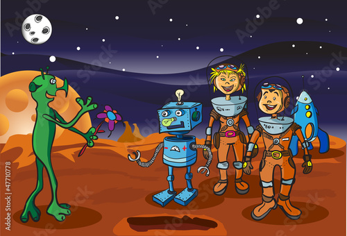 Cadres-photo bureau Cosmos Space meeting children-astronauts and alien on Mars