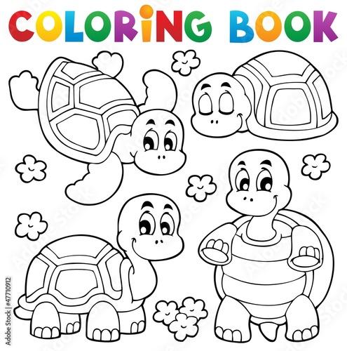 Spoed Foto op Canvas Doe het zelf Coloring book turtle theme 1