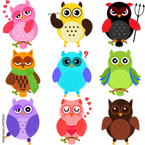 Wall Murals Birds, bees Set of Colorful Owls with different characters