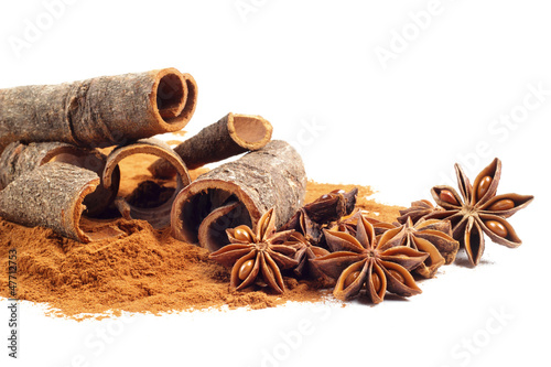cinnamon and star anise on white background Canvas Print