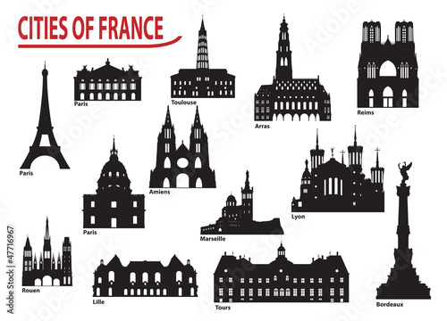 Photo Silhouettes of cities in France