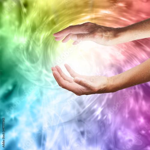 Doppelrollo mit Motiv - Healing Hands (von Nikki Zalewski)