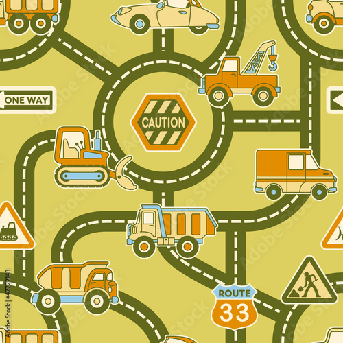 Wall Murals On the street Cute map of urban traffic - seamless vector pattern