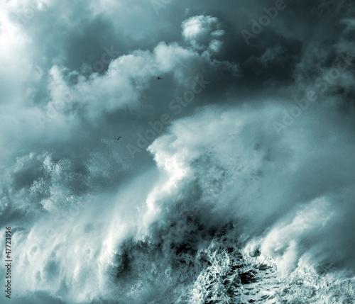 Stickers pour porte Eau Stormy wave