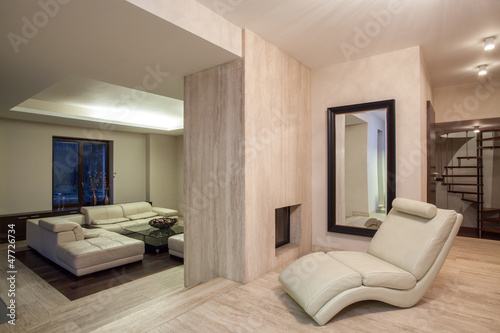 Travertine House Living Room With A Fireplace Buy This Stock