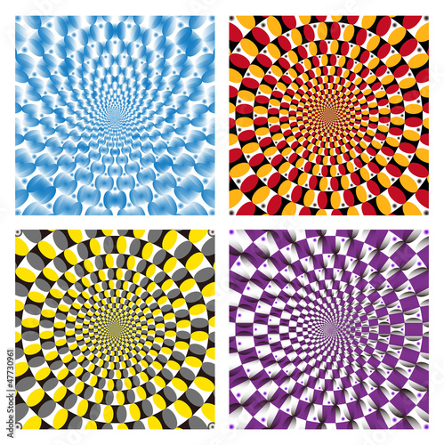Poster Psychedelique Vector Optical illusion Spin Cycle set