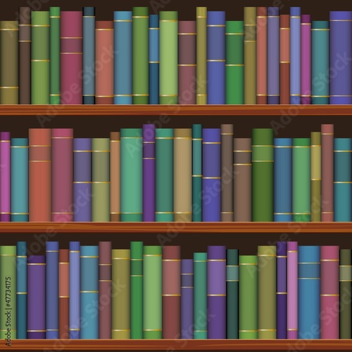 Door stickers Library seamless library shelves with old books