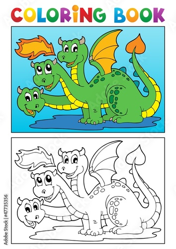 Türaufkleber Zum Malen Coloring book dragon theme image 4