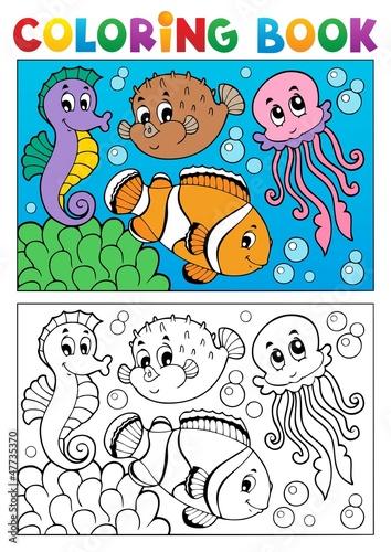 Türaufkleber Zum Malen Coloring book with marine animals 4