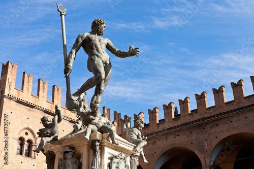Statue of Neptune on Piazza del Nettuno in Bologna Canvas Print