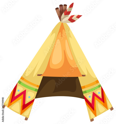 Poster Indiërs cartoon indians tepee vector