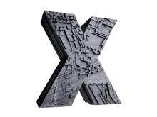 Stone Letter X In 3D