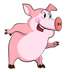 Happy smiling pig on a white background