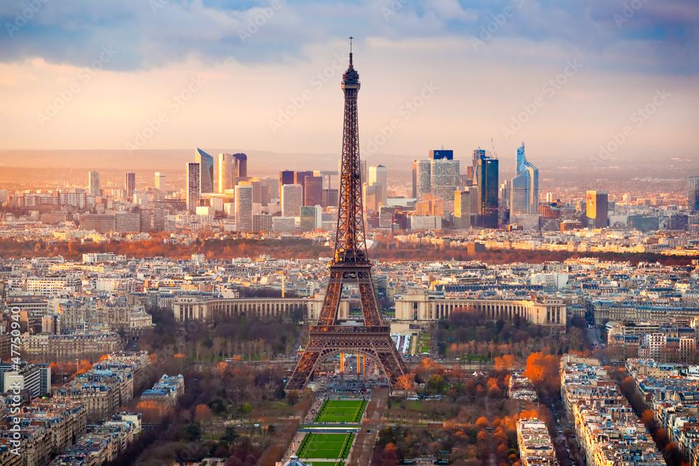 Fototapety, obrazy: Paryż o zachodzie słońca