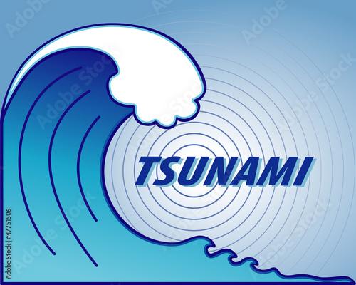 Papiers peints Abstract wave Tsunami. Giant wave crest, ocean earthquake epicenter, text.