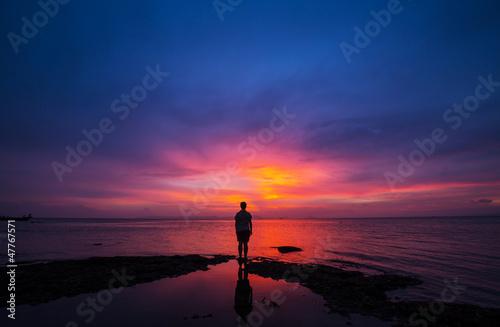 Papiers peints Bleu nuit Sunset scene